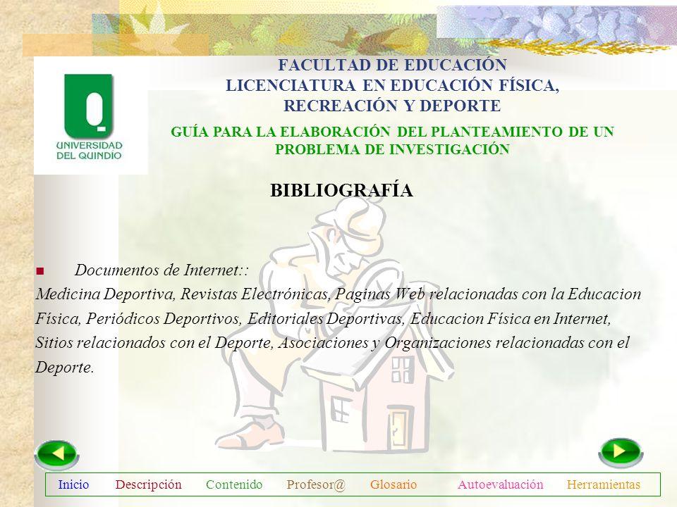 Inicio Descripción Contenido Profesor@ Glosario Autoevaluación Herramientas BIBLIOGRAFÍA Metodología de la Investigación I. Toro V. Jesús Antonio. Edi
