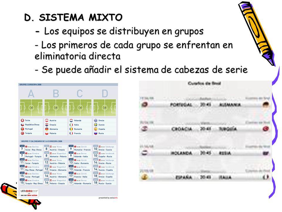 D. SISTEMA MIXTO - Los equipos se distribuyen en grupos - Los primeros de cada grupo se enfrentan en eliminatoria directa - Se puede añadir el sistema