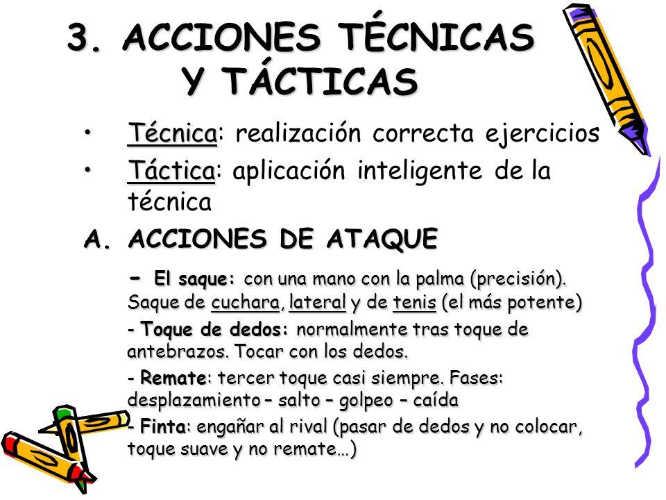 3. ACCIONES TÉCNICAS Y TÁCTICAS TécnicaTécnica: realización correcta ejercicios TácticaTáctica: aplicación inteligente de la técnica A.ACCIONES DE ATA