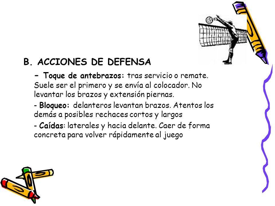 B. ACCIONES DE DEFENSA - Toque de antebrazos: tras servicio o remate. Suele ser el primero y se envía al colocador. No levantar los brazos y extensión