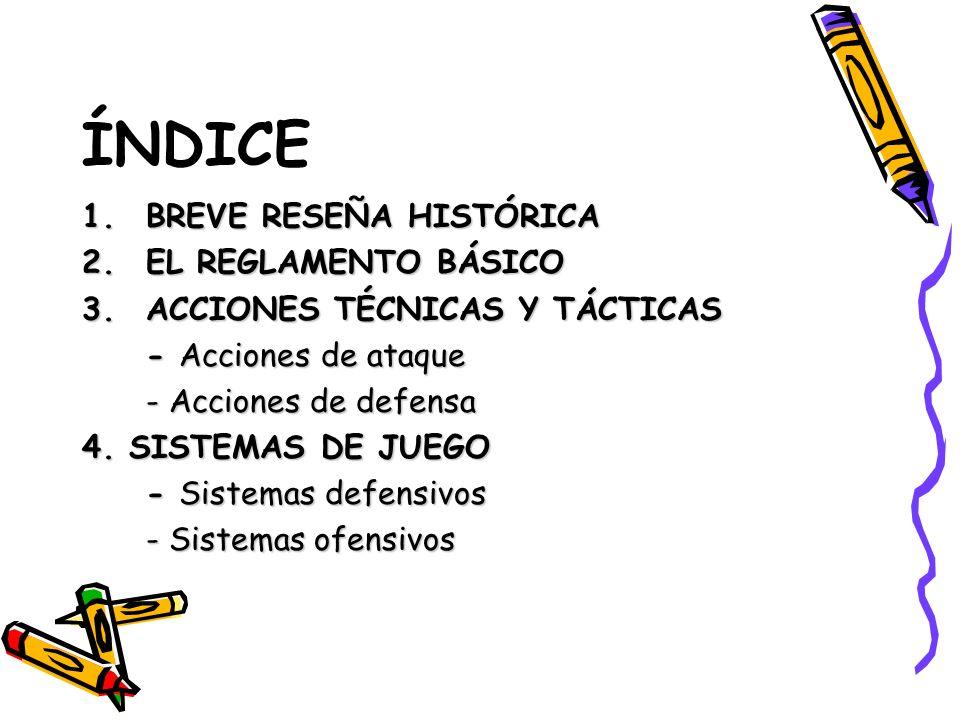 ÍNDICE 1.BREVE RESEÑA HISTÓRICA 2.EL REGLAMENTO BÁSICO 3.ACCIONES TÉCNICAS Y TÁCTICAS - Acciones de ataque - Acciones de defensa 4. SISTEMAS DE JUEGO