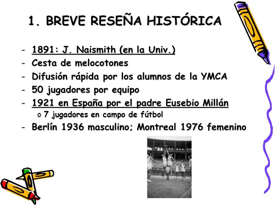 1. BREVE RESEÑA HISTÓRICA -1891: J. Naismith (en la Univ.) -Cesta de melocotones -Difusión rápida por los alumnos de la YMCA -50 jugadores por equipo