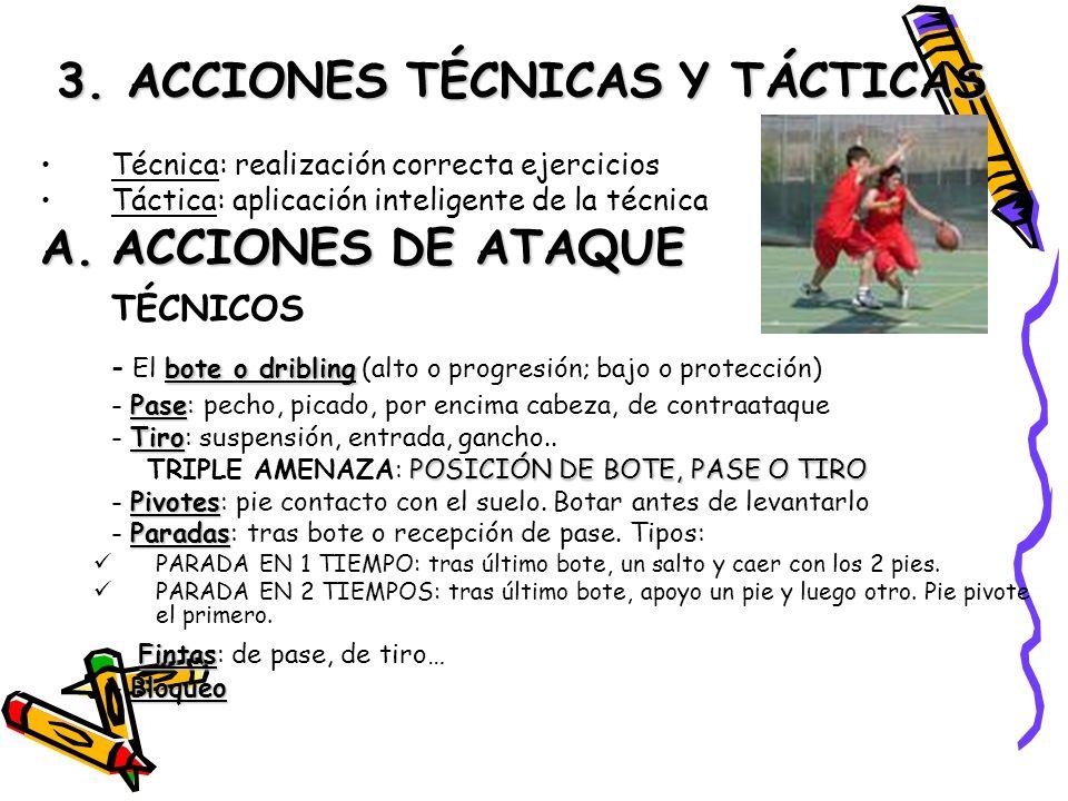 3. ACCIONES TÉCNICAS Y TÁCTICAS Técnica: realización correcta ejercicios Táctica: aplicación inteligente de la técnica A.ACCIONES DE ATAQUE TÉCNICOS b