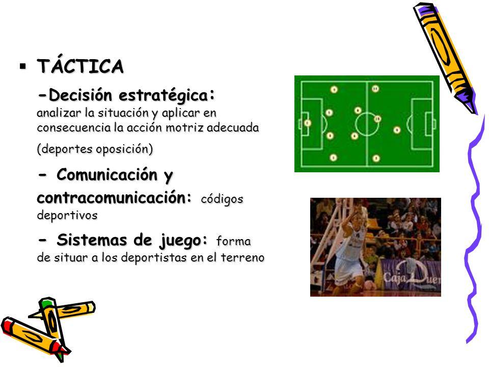 TÁCTICA TÁCTICA - Decisión estratégica : analizar la situación y aplicar en consecuencia la acción motriz adecuada (deportes oposición) - Comunicación