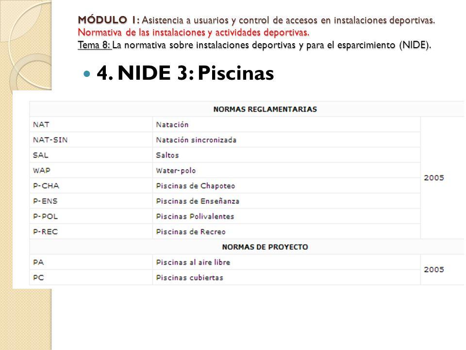 4. NIDE 3: Piscinas MÓDULO 1: Asistencia a usuarios y control de accesos en instalaciones deportivas. Normativa de las instalaciones y actividades dep