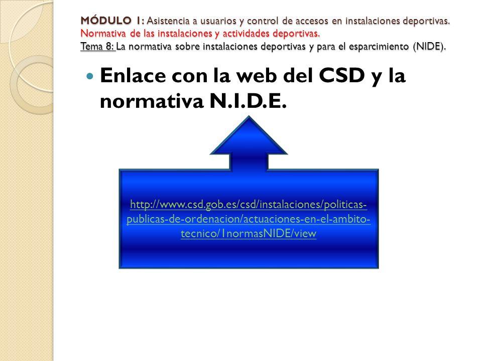 Enlace con la web del CSD y la normativa N.I.D.E. MÓDULO 1: Asistencia a usuarios y control de accesos en instalaciones deportivas. Normativa de las i