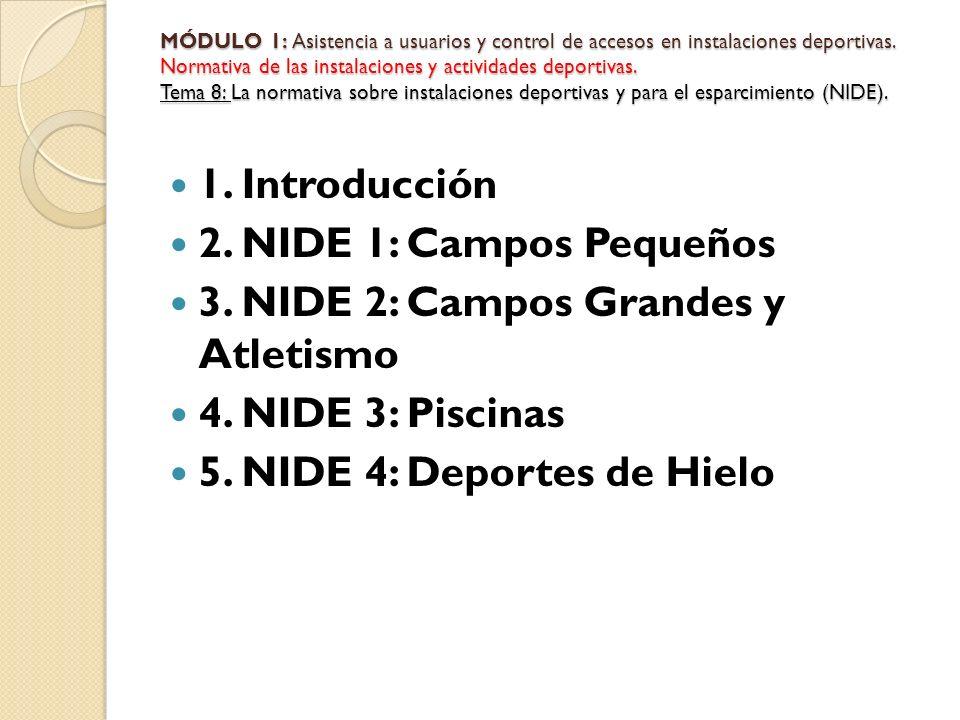 1. Introducción 2. NIDE 1: Campos Pequeños 3. NIDE 2: Campos Grandes y Atletismo 4. NIDE 3: Piscinas 5. NIDE 4: Deportes de Hielo MÓDULO 1: Asistencia