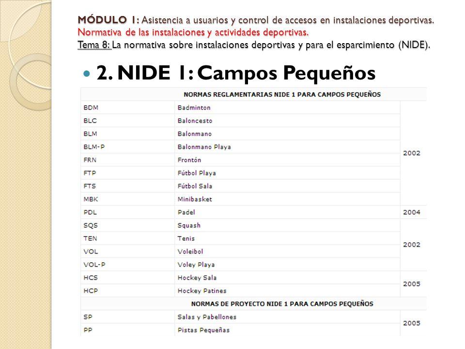 2. NIDE 1: Campos Pequeños MÓDULO 1: Asistencia a usuarios y control de accesos en instalaciones deportivas. Normativa de las instalaciones y activida