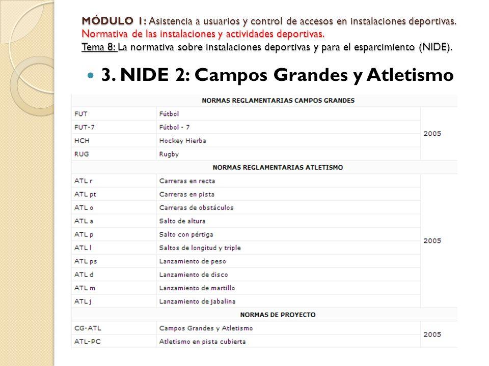 3. NIDE 2: Campos Grandes y Atletismo MÓDULO 1: Asistencia a usuarios y control de accesos en instalaciones deportivas. Normativa de las instalaciones