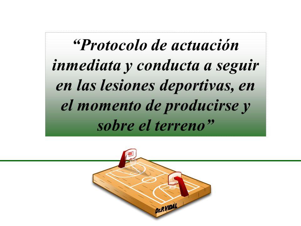 Protocolo de actuación inmediata y conducta a seguir en las lesiones deportivas, en el momento de producirse y sobre el terreno