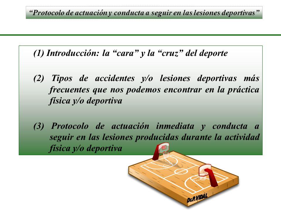Protocolo de actuación y conducta a seguir en las lesiones deportivas (1) Introducción: la cara y la cruz del deporte (2) Tipos de accidentes y/o lesi
