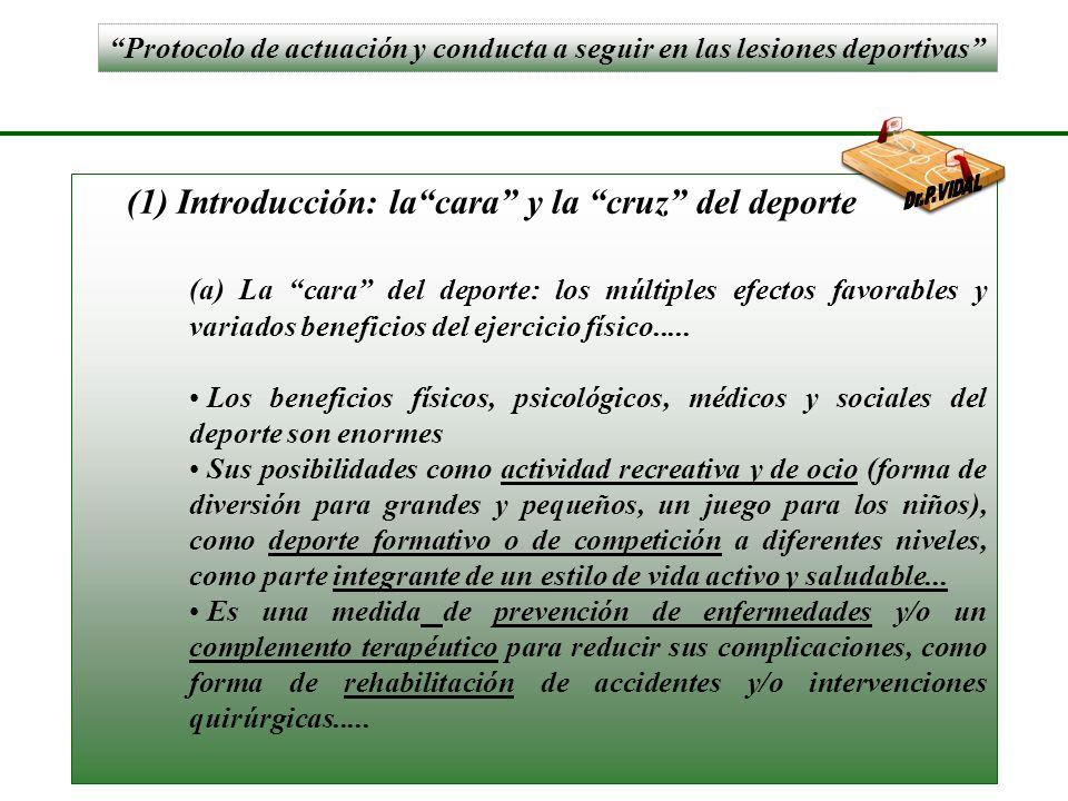 Protocolo de actuación y conducta a seguir en las lesiones deportivas (1) Introducción: lacara y la cruz del deporte (a) La cara del deporte: los múltiples efectos favorables y variados beneficios del ejercicio físico.....
