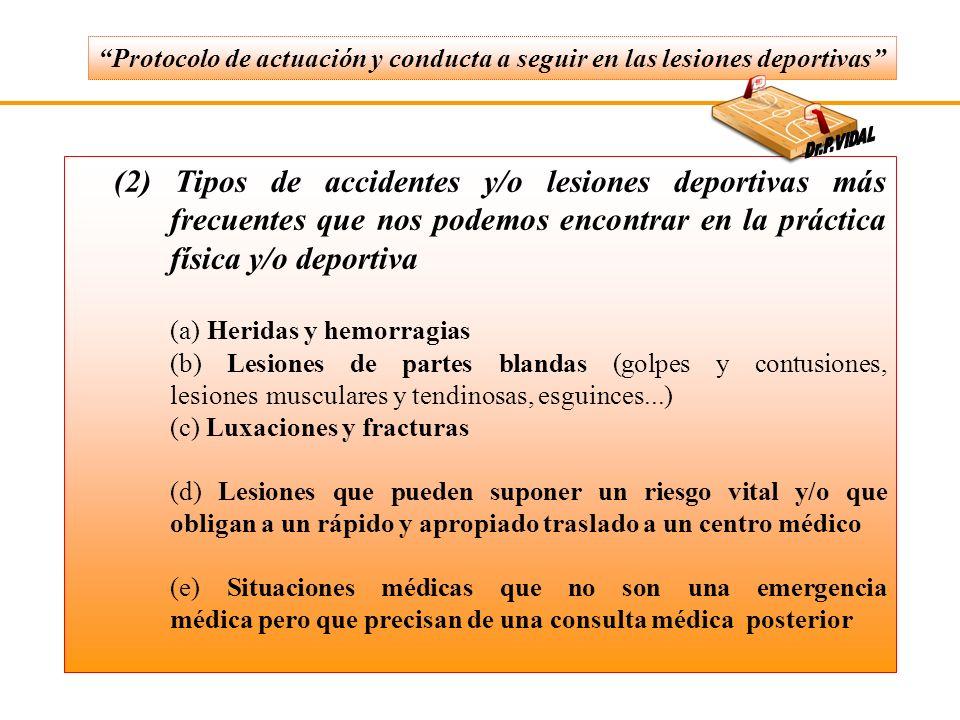 (2) Tipos de accidentes y/o lesiones deportivas más frecuentes que nos podemos encontrar en la práctica física y/o deportiva (a) Heridas y hemorragias