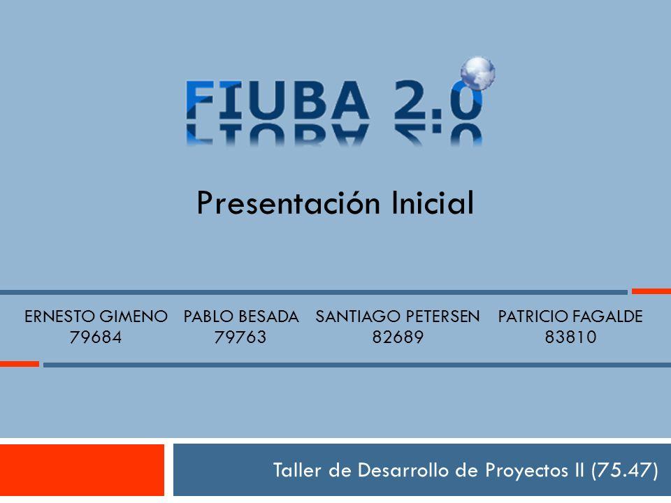 Taller de Desarrollo de Proyectos II (75.47) Presentación Inicial ERNESTO GIMENO 79684 PABLO BESADA 79763 SANTIAGO PETERSEN 82689 PATRICIO FAGALDE 83810