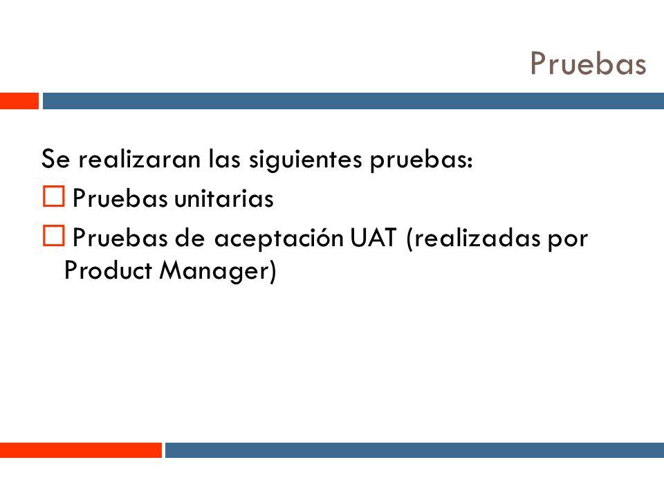 10 Pruebas Se realizaran las siguientes pruebas: Pruebas unitarias Pruebas de aceptación UAT (realizadas por Product Manager)