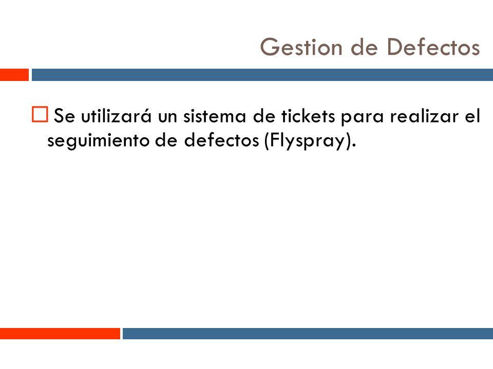 11 Gestion de Defectos Se utilizará un sistema de tickets para realizar el seguimiento de defectos (Flyspray).