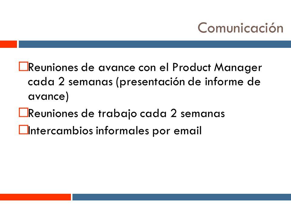 14 Comunicación Reuniones de avance con el Product Manager cada 2 semanas (presentación de informe de avance) Reuniones de trabajo cada 2 semanas Intercambios informales por email