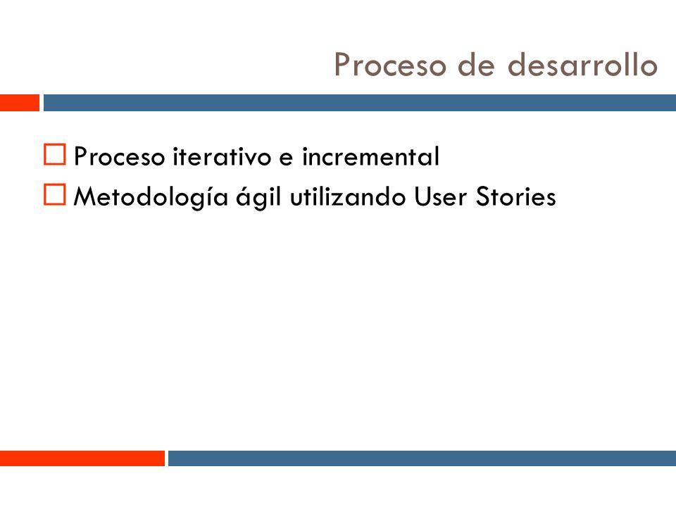 2 Proceso de desarrollo Proceso iterativo e incremental Metodología ágil utilizando User Stories