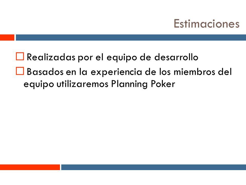 4 Estimaciones Realizadas por el equipo de desarrollo Basados en la experiencia de los miembros del equipo utilizaremos Planning Poker