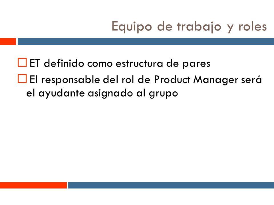 5 Equipo de trabajo y roles ET definido como estructura de pares El responsable del rol de Product Manager será el ayudante asignado al grupo