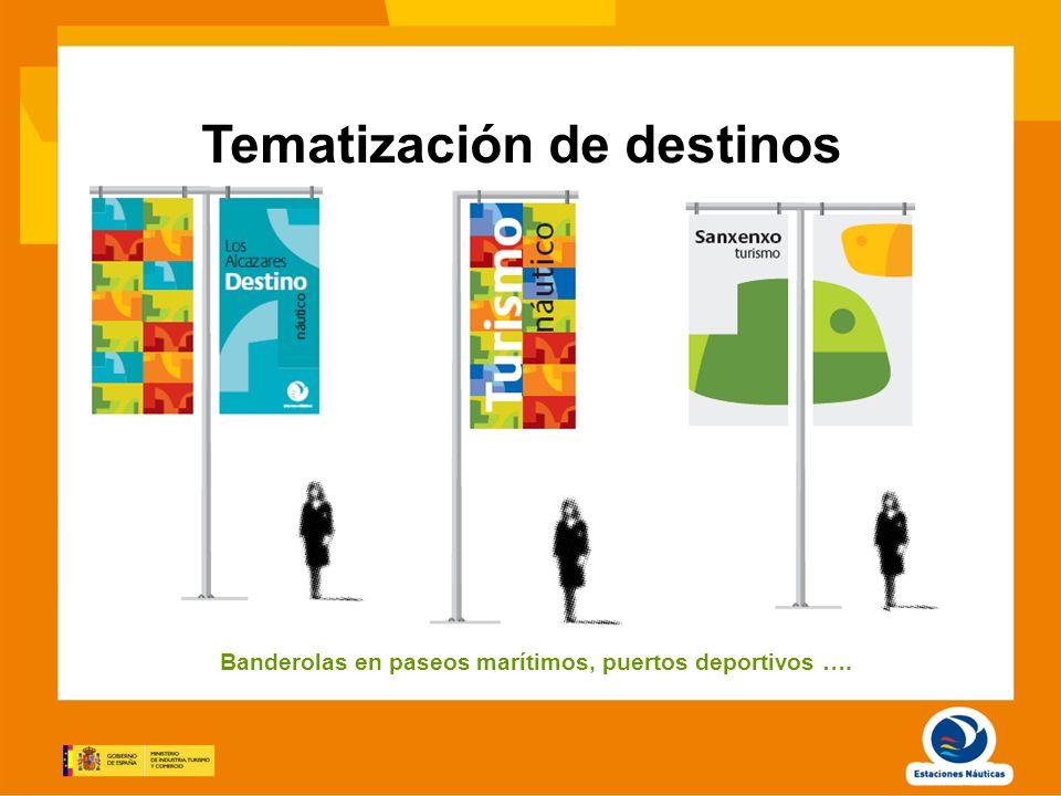 Tematización de destinos Banderolas en paseos marítimos, puertos deportivos ….