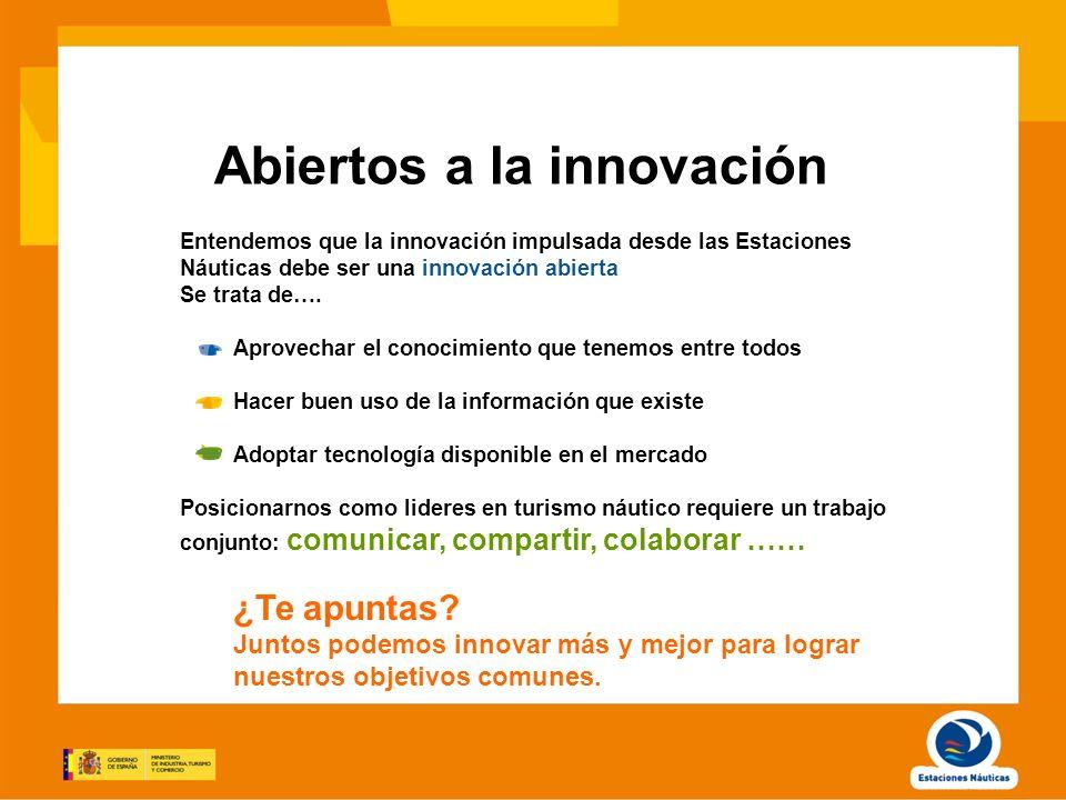 Abiertos a la innovación Entendemos que la innovación impulsada desde las Estaciones Náuticas debe ser una innovación abierta Se trata de…. Aprovechar