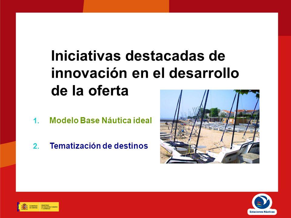 Iniciativas destacadas de innovación en el desarrollo de la oferta 1. Modelo Base Náutica ideal 2. Tematización de destinos