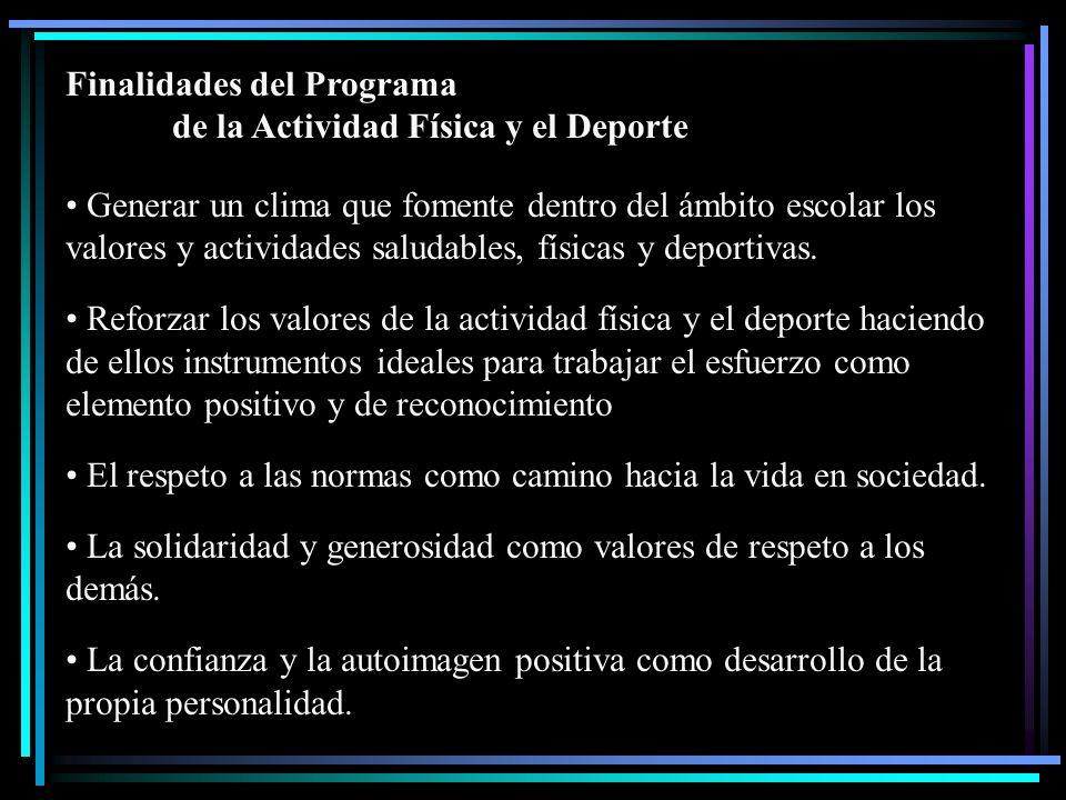 Finalidades del Programa de la Actividad Física y el Deporte Generar un clima que fomente dentro del ámbito escolar los valores y actividades saludabl