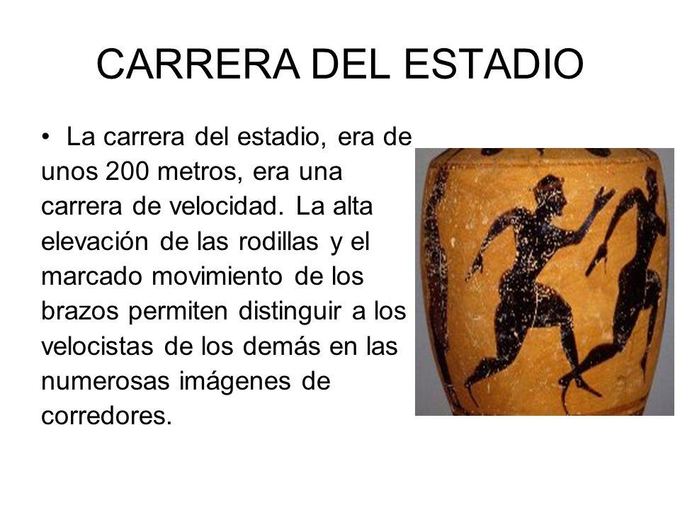 CARRERA DEL ESTADIO La carrera del estadio, era de unos 200 metros, era una carrera de velocidad. La alta elevación de las rodillas y el marcado movim