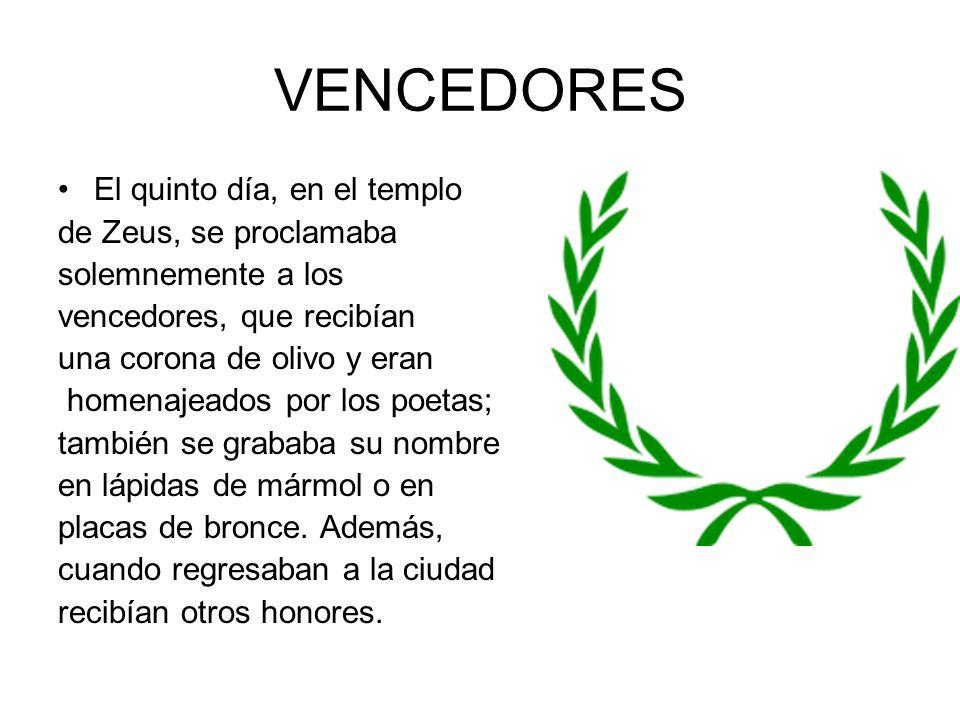 VENCEDORES El quinto día, en el templo de Zeus, se proclamaba solemnemente a los vencedores, que recibían una corona de olivo y eran homenajeados por