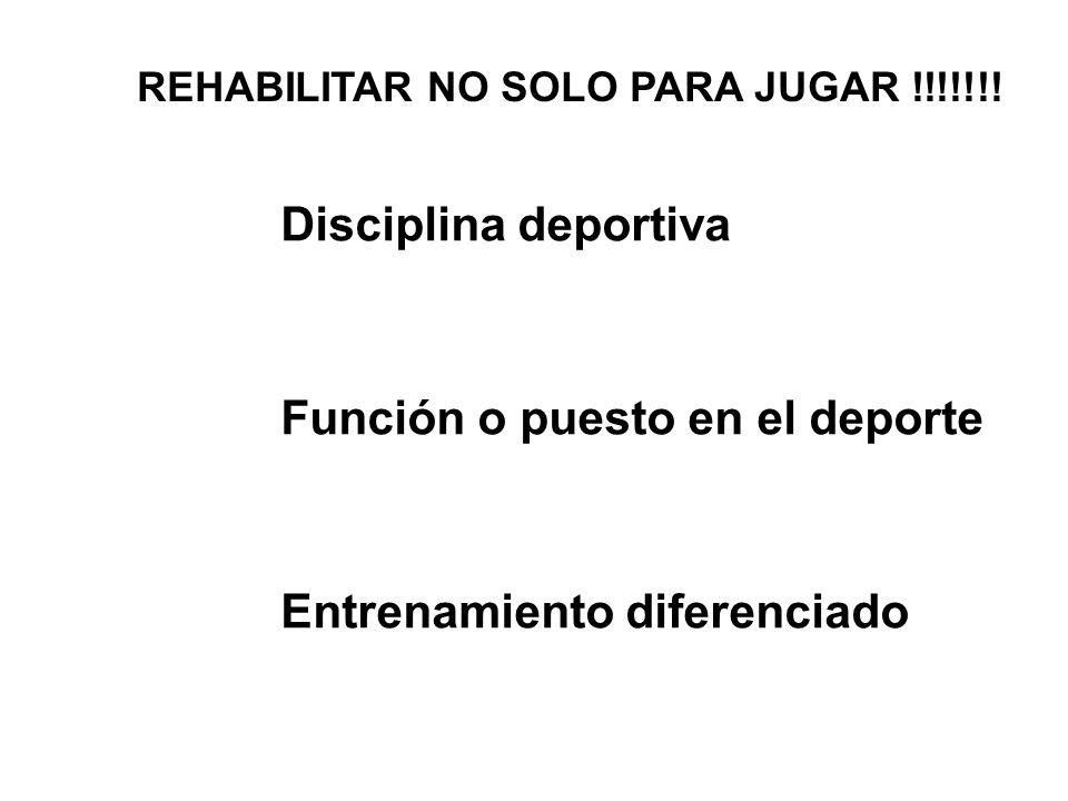 REHABILITAR NO SOLO PARA JUGAR !!!!!!! Disciplina deportiva Función o puesto en el deporte Entrenamiento diferenciado