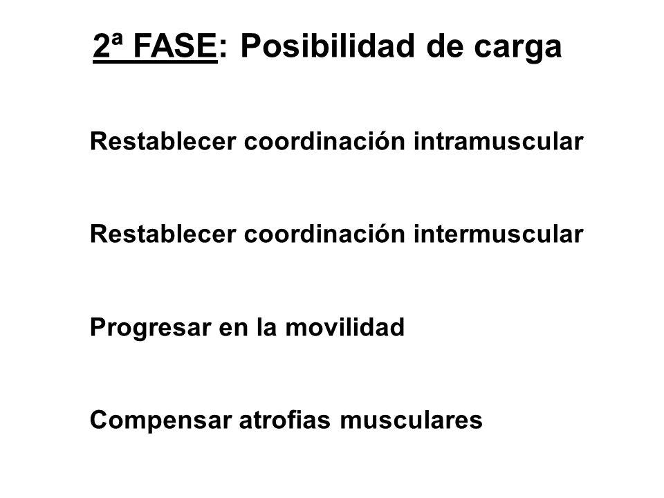 2ª FASE: Posibilidad de carga Restablecer coordinación intramuscular Restablecer coordinación intermuscular Progresar en la movilidad Compensar atrofi