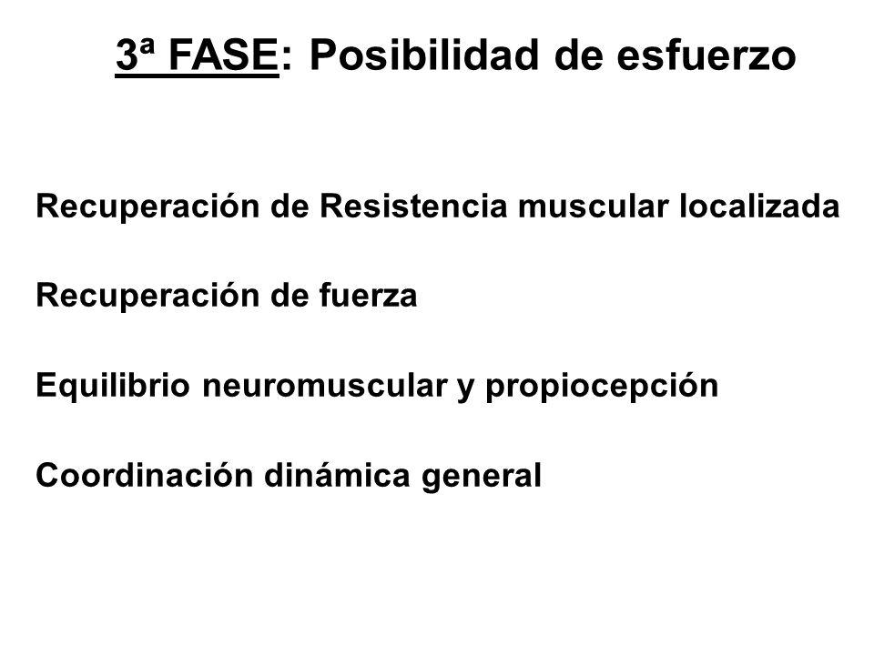 3ª FASE: Posibilidad de esfuerzo Recuperación de Resistencia muscular localizada Recuperación de fuerza Equilibrio neuromuscular y propiocepción Coord