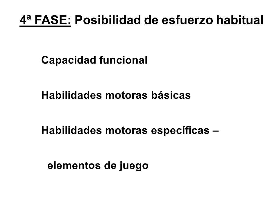 4ª FASE: Posibilidad de esfuerzo habitual Capacidad funcional Habilidades motoras básicas Habilidades motoras específicas – elementos de juego