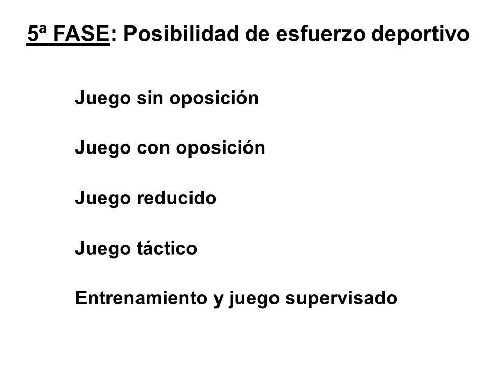 5ª FASE: Posibilidad de esfuerzo deportivo Juego sin oposición Juego con oposición Juego reducido Juego táctico Entrenamiento y juego supervisado