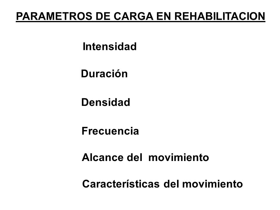 PARAMETROS DE CARGA EN REHABILITACION Intensidad Duración Densidad Frecuencia Alcance del movimiento Características del movimiento