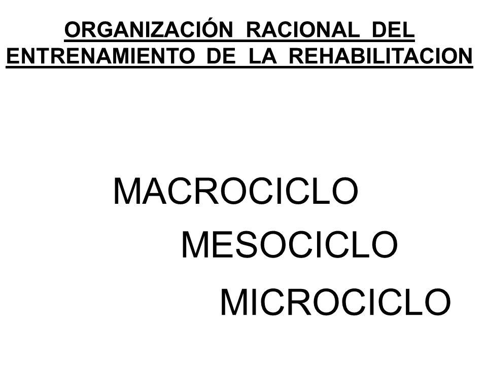 ORGANIZACIÓN RACIONAL DEL ENTRENAMIENTO DE LA REHABILITACION MACROCICLO MESOCICLO MICROCICLO
