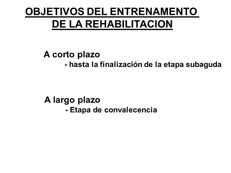 OBJETIVOS DEL ENTRENAMENTO DE LA REHABILITACION A corto plazo - hasta la finalización de la etapa subaguda A largo plazo - Etapa de convalecencia