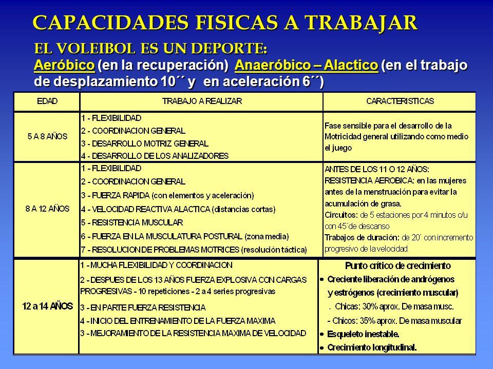 CAPACIDADES FISICAS A TRABAJAR EL VOLEIBOL ES UN DEPORTE: Aeróbico (en la recuperación) Anaeróbico – Alactico (en el trabajo de desplazamiento 10´´ y