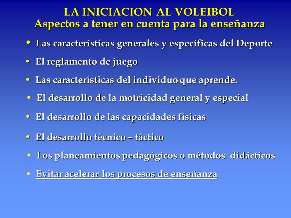 LA INICIACION AL VOLEIBOL Las características generales y específicas del Deporte Las características generales y específicas del Deporte Aspectos a t