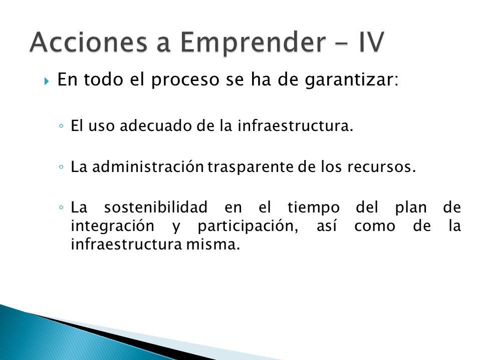 En todo el proceso se ha de garantizar: El uso adecuado de la infraestructura.