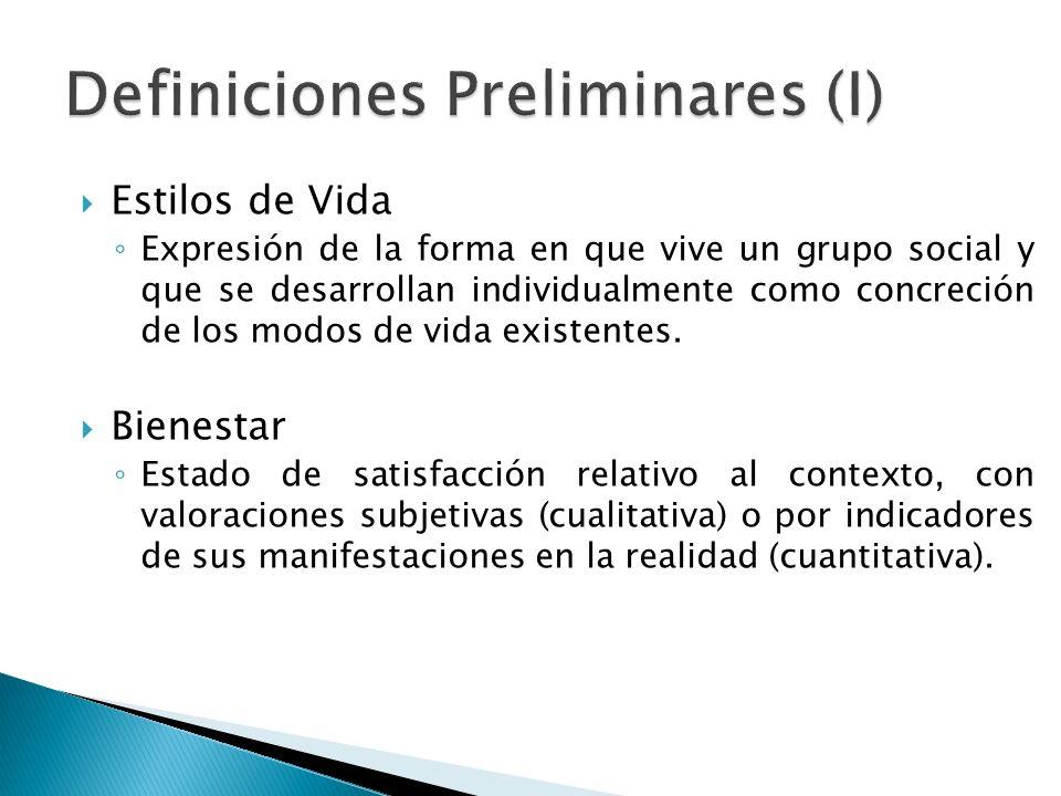 Estilos de Vida Expresión de la forma en que vive un grupo social y que se desarrollan individualmente como concreción de los modos de vida existentes.