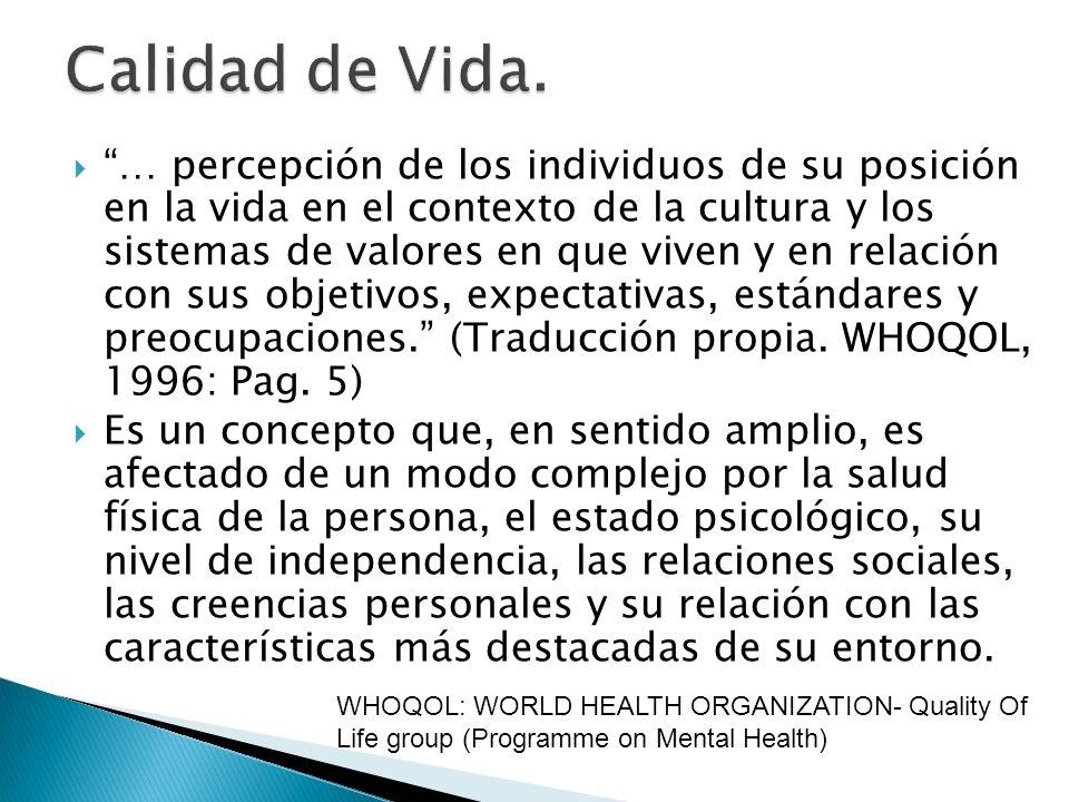 Por su relación conceptual con la salud, se consideran tres dimensiones (WHOQOL, 1997): Física: involucra la percepción estado físico, entendida como ausencia de enfermedad o de síntomas.