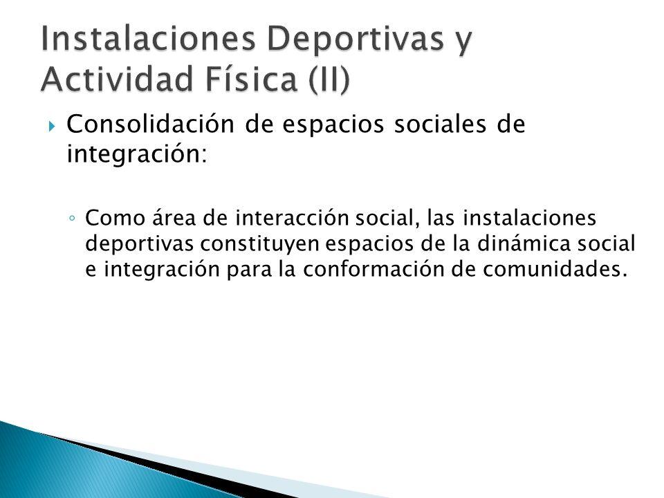 Consolidación de espacios sociales de integración: Como área de interacción social, las instalaciones deportivas constituyen espacios de la dinámica social e integración para la conformación de comunidades.