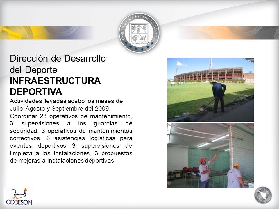 Dirección de Desarrollo del Deporte INFRAESTRUCTURA DEPORTIVA Actividades llevadas acabo los meses de Julio, Agosto y Septiembre del 2009.