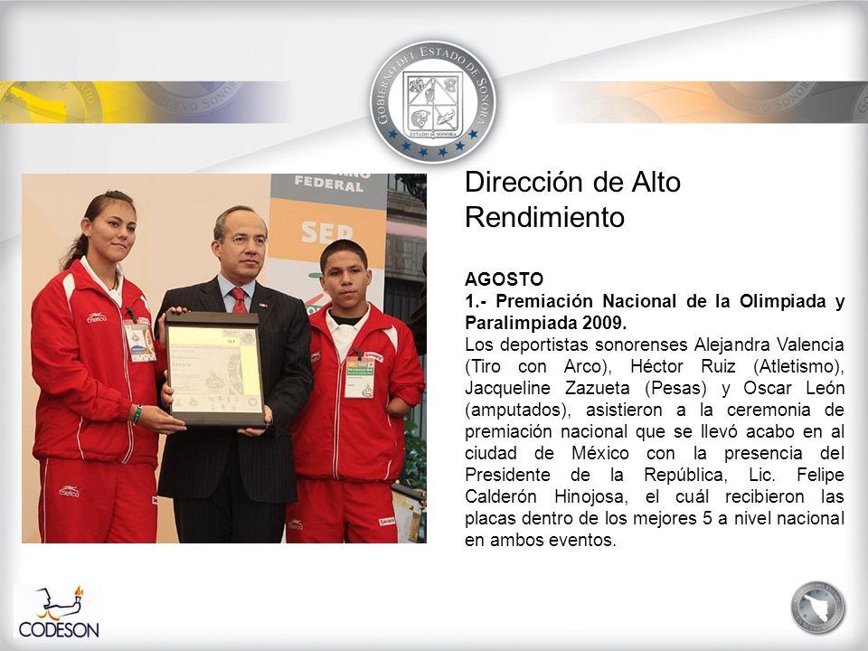 Dirección de Alto Rendimiento AGOSTO 2.- Campeonato Nacional de Judo Daniel F.