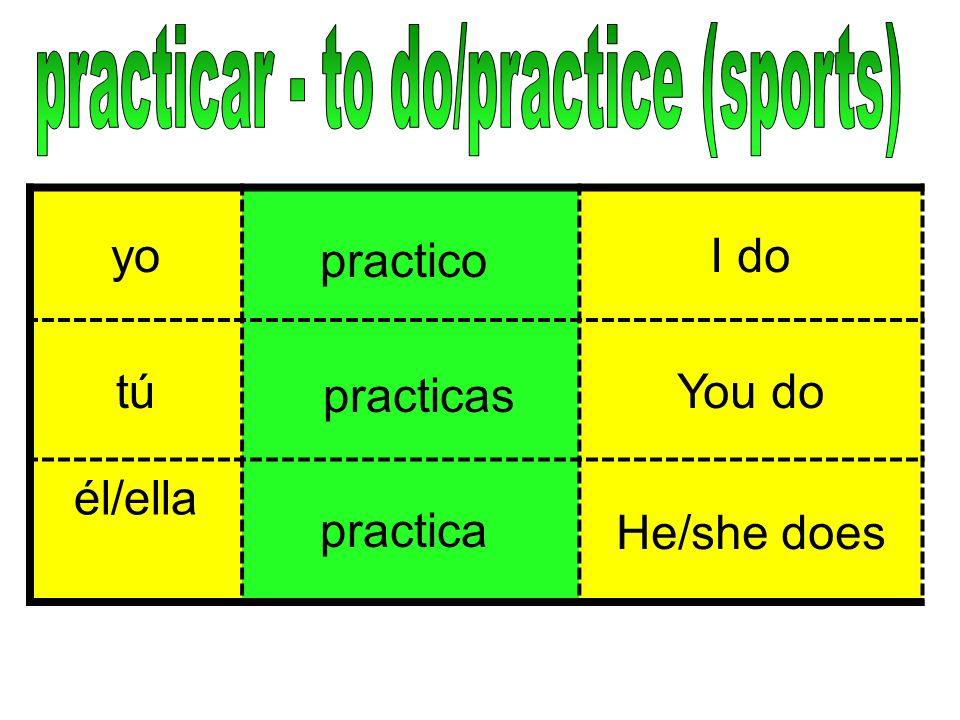 yoI do tútúYou do él/ella He/she does practico practicas practica