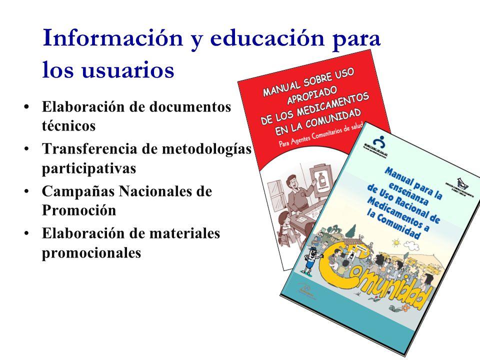 Elaboración de documentos técnicos Transferencia de metodologías participativas Campañas Nacionales de Promoción Elaboración de materiales promocionales Información y educación para los usuarios