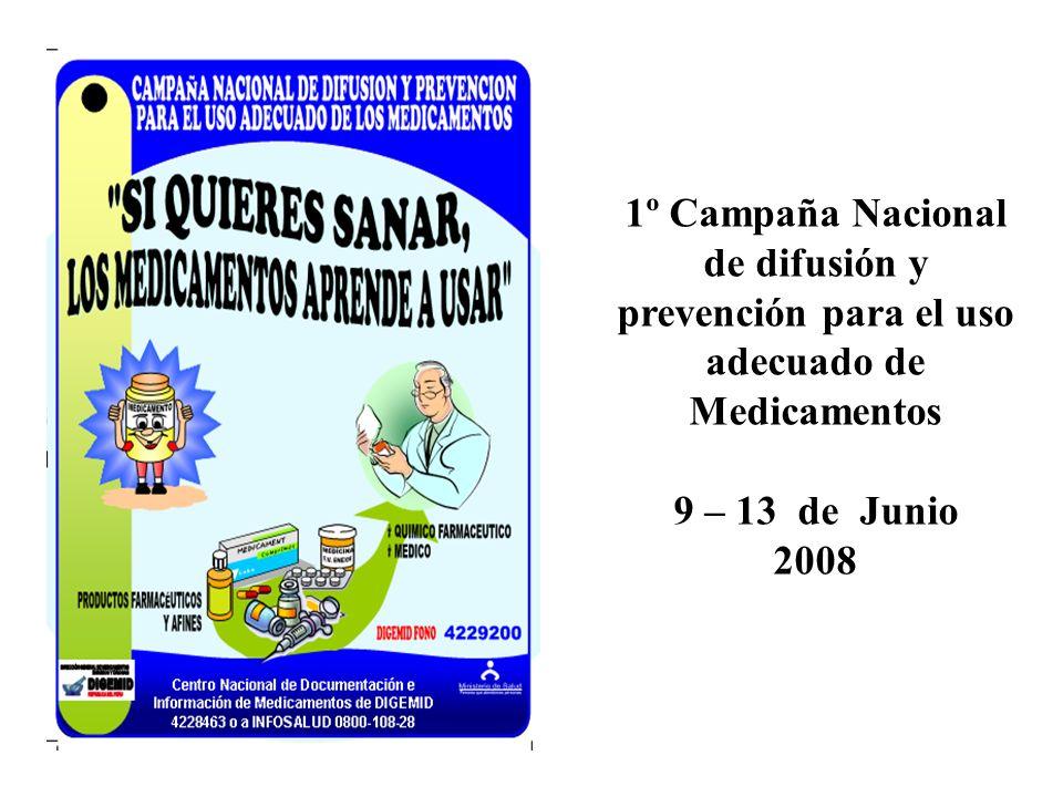 1º Campaña Nacional de difusión y prevención para el uso adecuado de Medicamentos 9 – 13 de Junio 2008