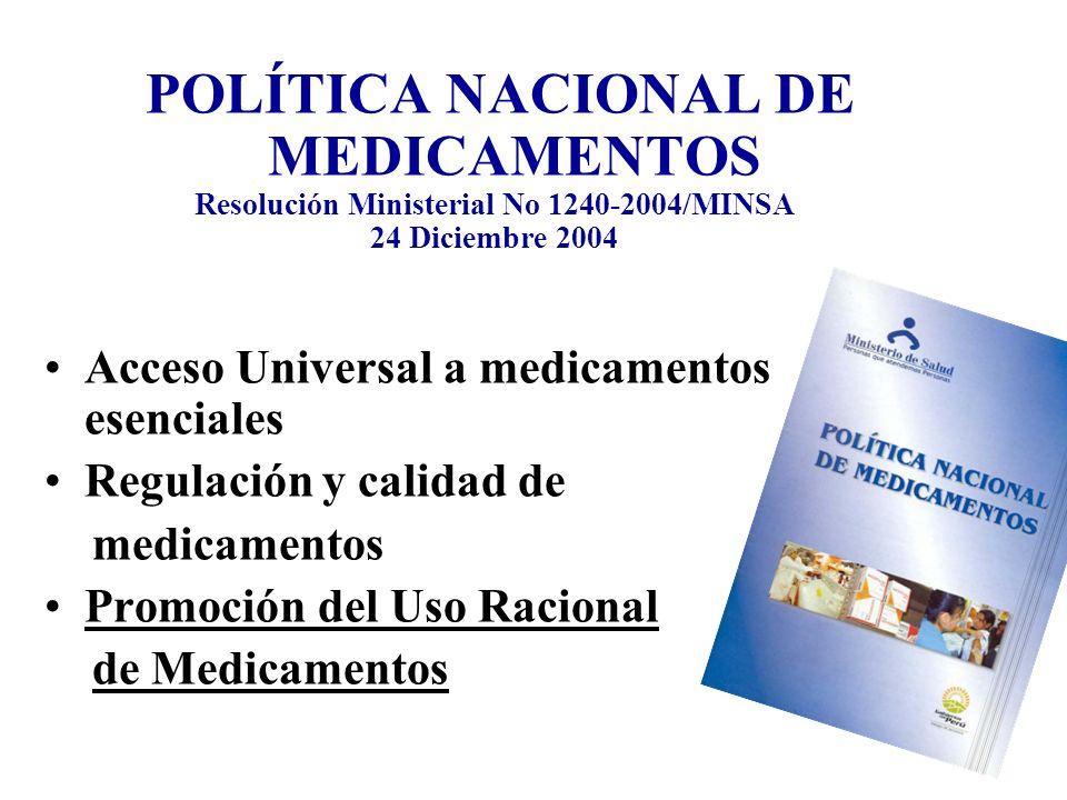 POLÍTICA NACIONAL DE MEDICAMENTOS Resolución Ministerial No 1240-2004/MINSA 24 Diciembre 2004 Acceso Universal a medicamentos esenciales Regulación y calidad de medicamentos Promoción del Uso Racional de Medicamentos